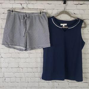 Carole Hochman Navy Blue Pajamas Small NWT